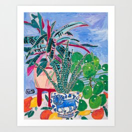 Houseplant collection Still Life on Blue Painting with Stromanthe Triostar, Pilea, and Snake Plant and Lion Vase Art Print