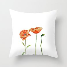 Simply poppy Vintage Watercolor illustration on white background on #Society6 Throw Pillow