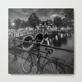 AMSTERDAM Evening impression from Brouwersgracht | Monochrome Metal Print