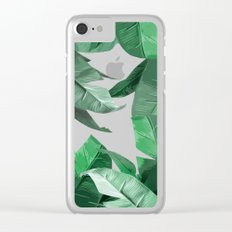 Tropical Palm Print Clear iPhone Case