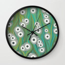 Tiger eyes in turquoise grass Wall Clock