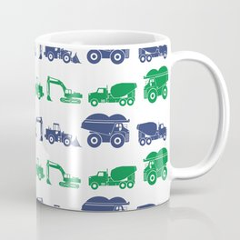 Blue and Green Construction Vehicles Coffee Mug