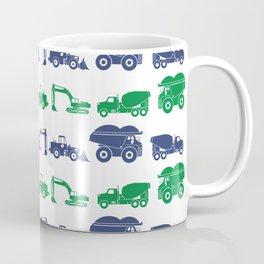Blue and Green Construction Vehicles Coffee Mug