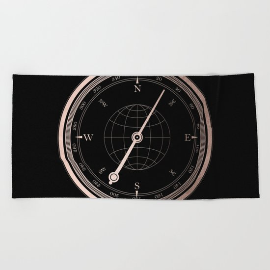 Rose Gold Compass on Black Beach Towel
