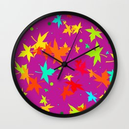 Forever Autumn Leaves purple 4 Wall Clock