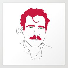 Blue-tooth pink mustache guy Art Print