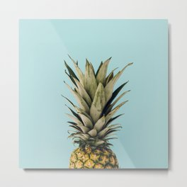 Pineapple and blue Metal Print