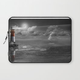 Lighthouse and Sailboat under moonlight Laptop Sleeve