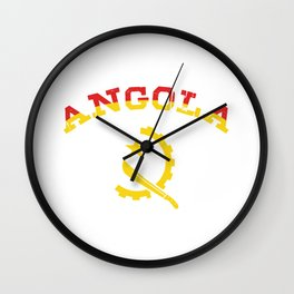 Patriotic Angolan Pride Angolan National Angola Flag Country People Gift Wall Clock