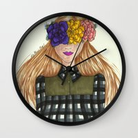 fawn Wall Clocks featuring Fawn by Ally Marie