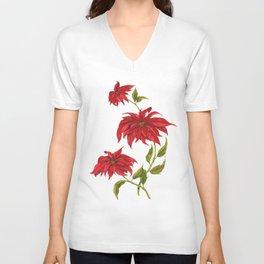 Poinsettia. Composition 2 Unisex V-Neck