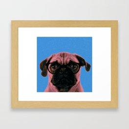 Geek Pug in Blue Background Framed Art Print
