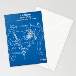 1902 J. F. Merkel Motorcycle Blueprint Patent Stationery Cards