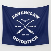 ravenclaw Wall Tapestries featuring Ravenclaw Quidditch Team Seeker: Blue by Sharayah Mitchell