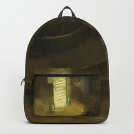 Olive Green Abstract Realistic Impressionistic Painting Still Life Tealight Lamp and Feathers Backpack