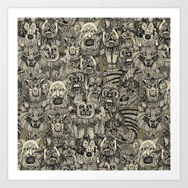 gargoyles vintage black Art Print