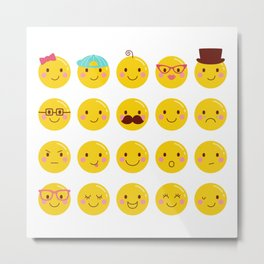 Cheeky Emoji Faces Metal Print