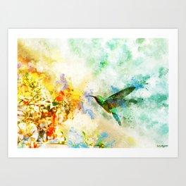 Hummingbird Watercolor Art Print