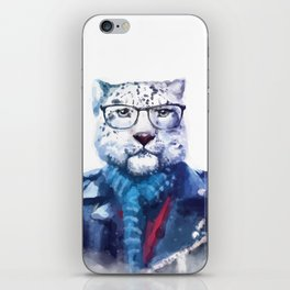 Watercolor Hipster Cat iPhone Skin