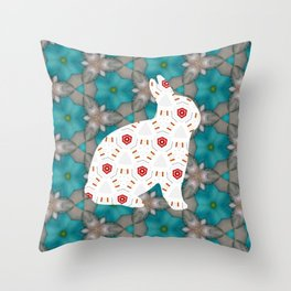 bunny strawberry Throw Pillow