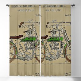 1914 WWI Perry Motorcycle Machine Gun Patent with pencil color Blackout Curtain