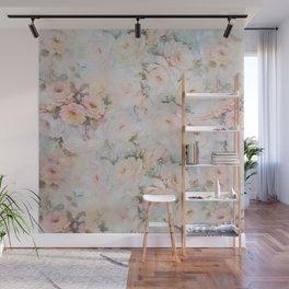 Vintage romantic blush pink ivory elegant rose floral Wall Mural
