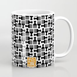 Pick Fros Not Fights™ / Frolab Signature Afro Pick Pattern Coffee Mug
