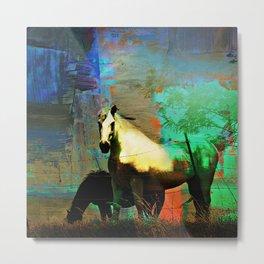 Grazing Horses in Texas Metal Print
