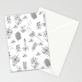 Black White Flower Mix Stationery Cards