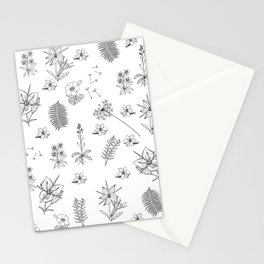 Black White Flower Mix Stationery Cards