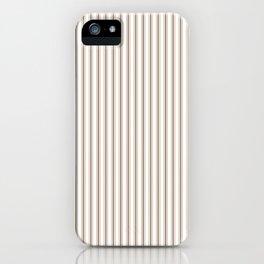 Mattress Ticking Narrow Striped Pattern in Dark Brown and White iPhone Case