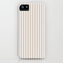 Mattress Ticking Narrow Striped Pattern in Dark Brown and White iPhone Case