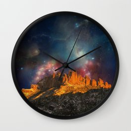 Sacred Mountains 2 (galaxy sky) Wall Clock