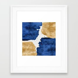 Gold and Navy Blue paint Framed Art Print