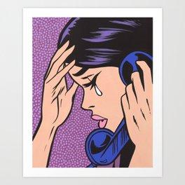 Phone Crying Comic Girl Art Print