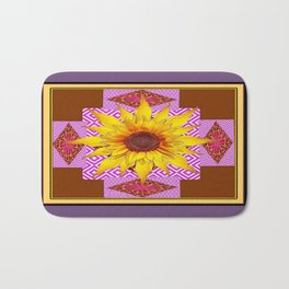 Puce Grey Coffee Brown Ornate Sunflower Art Bath Mat