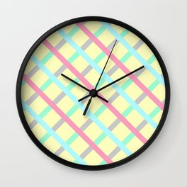Abstract Geometic Pattern Square Grid Stripes multicolor Wall Clock