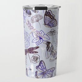Dragonflies, Butterflies and Moths With Plants on Pale Blue Travel Mug