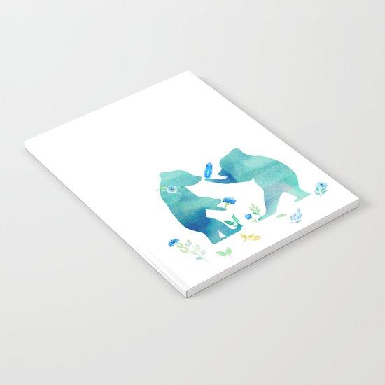 Playing bear kids- Watercolor animal illustration Notebook