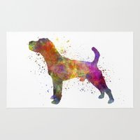 jack russell Area & Throw Rugs featuring Jack Russell Terrier 01 in watercolor by Paulrommer