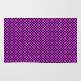 Dazzling Violet and Black Polka Dots Rug