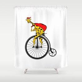 Giraffe Santa Chritmas Shower Curtain