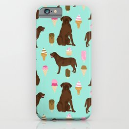 chocolate lab ice cream dog breed pet portrait gifts for labrador retriever lovers iPhone Case
