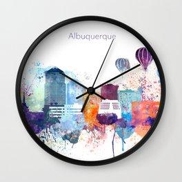 Colorful Albuquerque skyline design Wall Clock