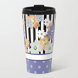Floral pattern With textured polka dots. Travel Mug