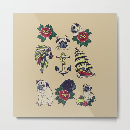 Pugs and the sea Metal Print