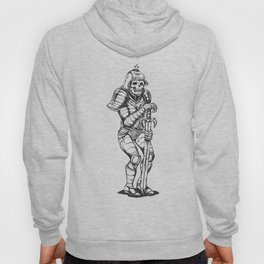knight skeleton - warrior illustration - skull black and white Hoody