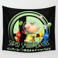 super smash bros Wall Tapestries featuring Olimar - Super Smash Bros. by Donkey Inferno