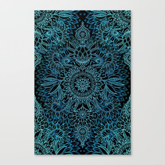 Black & Aqua Protea Doodle Pattern Canvas Print