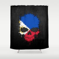 philippines Shower Curtains featuring Flag of Philippines on a Chaotic Splatter Skull by Jeff Bartels